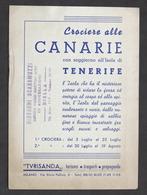 Pubblicità Turisanda - Crociere Alle Canarie E Soggiorno Isola Di Tenerife 1949 - Pubblicitari