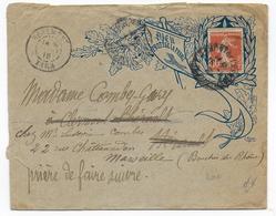 "1915 - ENVELOPPE PROPAGANDE ILLUSTREE PSEUDO ""PORTE TIMBRE DIEU PROTEGE LA FRANCE"" De REALMONT(TARN) => HERAULT - Marcophilie (Lettres)"