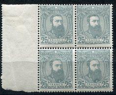 CONGO BELGE COB N°13A ** / * LEOPOLD II DE TROIS QUARTS A DROITE EN BLOC DE 4 - 1884-1894 Vorläufer & Leopold II.