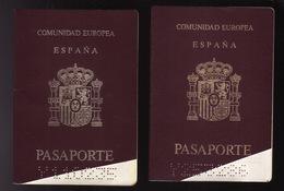 TWO  2 PASSPORT - PASSEPORT - PASAPORTE- PASSAPORTO  - SPAIN ESPAÑA - UNION EUROPEA - Documentos Históricos