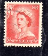 NEW ZEALAND NUOVA ZELANDA 1953 1957 QUEEN ELIZABETH II REGINA ELISABETTA PENCE 3p USATO USED OBLITERE' - Nuova Zelanda
