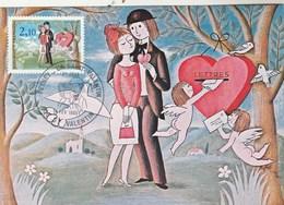 France Carte Maximum Yvert 2354 Les Amoureux De Peynet 36 St Valentin 14/2/1985 - 1980-89