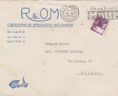 BUSTA VIAGGIATA - MILANO - VESPA - R.E.O.M. COSTRUZIONI ED APPLICAZIONI MECCANICHE - VIAGGIATA PER MILANO - 6. 1946-.. Republic