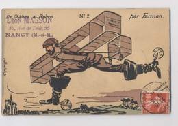 CARICATURE Signée G. Hourriez - 1910 - De Châlon à Reims N°2 Par Farman - Aviateur Et Son Avion - Bottes De Sept Lieues - Aviateurs