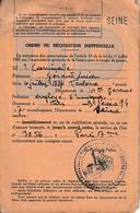 WW2 ORDRE DE RÉQUISITION INDIVIDUELLE - Cachet Du Secrétariat à La DÉFENSE PASSIVE - Documentos Históricos