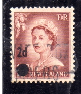 NEW ZEALAND NUOVA ZELANDA 1958 QUEEN ELIZABETH II REGINA ELISABETTA SURCHARGED PENCE 2p On 1/2 USATO USED OBLITERE' - Nuova Zelanda