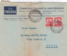 BUSTA VIAGGIATA - NOVI LIGURE (AL) LA FONDIARIA COMPAGNIE ITALIANE DI ASSICURAZIONI - VIAGGIATA PER OVADA ( AL) - 6. 1946-.. Repubblica