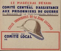 Guerre 39 45 Fiche Pour Colis Aux Prisonniers De Guerre Zone Occupée Neuf Maréchal Pétain - Guerra De 1939-45