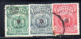 APR1833 - BOLIVIA 1928 , Serie Yvert N. 142/144  Usata  (2380A) - Bolivia