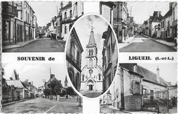 D37 - LIGUEIL - SOUVENIR DE LIGUEIL - CPSM Dentelée Multivues (5) Petit Format En Noir Et Blanc - Véhicules Anciens - Francia