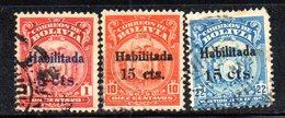 APR1836 - BOLIVIA 1923 , Serie Yvert N. 121/123  Usata  (2380A) - Bolivia