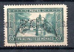 MONACO -- Timbre Perforé Perfin -- B C I  -- 65 C. Vert-bleu La Placette François Bosio - Errors And Oddities