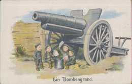 Kindersoldaten Beim Skat, Ein Bombengrand, Propaganda, Postkarte, Militär, WKI - Guerra 1914-18