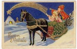 BUON NATALE - COPPIA BAMBINI SU SLITTA - PROFILI DORATI - Vedi Retro - Formato Piccolo - Santa Claus