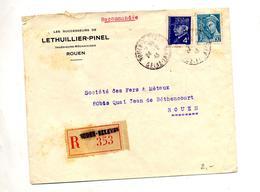 Lettre Recommandée Rouen Sur Petain Mercure - Marcophilie (Lettres)