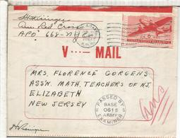 ESTADOS UNIDOS USA V-MAIL SIN MICROFILMAR MAT US ARMY 1943 A NEW JERSEY CON CENSURA - 2. Weltkrieg