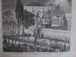 Gravure  1869  TURQUIE   Constantinople   Réception Aux Flambeaux    Résidence Dolma    Bagiché - Turquie