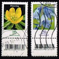 Bund 2017, Michel# 3314 - 3315 O Blumen, Winterling + Hasenglöckchen Mit EAN-Code Und Nr. 90/ 40 - Roulettes