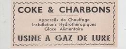 Publicité 1937 Coke Et Charbons Usine à Gaz De Lure - Publicités