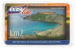 Malta - Easyline/Maltacom - Fomm Ir-Riħ Bay - Remote Mem. 2₤, 150.000ex, NSB - Malta