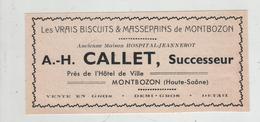 Publicité 1937  Callet Vrais Biscuits Et Massepains Montbozon - Advertising