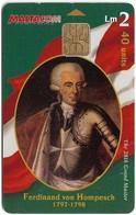 Malta - Maltacom - Maltese Grand Masters - Ferdinand Von Hompesch, 40Units, 10.000ex, Used - Malta