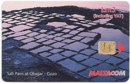 Malta - Maltacom - Photo Views - Salt Pans At Qabajjar, Gozo, 3₤, 50.000ex, Used - Malta