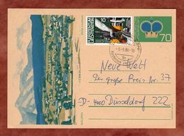 P 81 Krone Abb Mauren + ZF, Schaan Nach Duesseldorf 1986 (76515) - Interi Postali