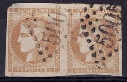 TIMBRE BORDEAUX N° 43 En PAIRE Avec OBLITERATION 5005 De ALGER ALGERIE BFE (DÉFAUTS) - 1870 Emission De Bordeaux