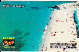 ITALY - Tropea/La Spiaggia, PLANET Prepaid Card LL10000/5.16 Euro, Tirage 50000, Exp.date 31/12/02, Used - Landscapes