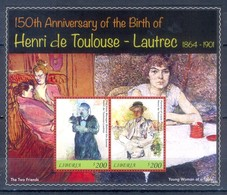 G8- Liberia 2014. 150th Anniversary Of The Birth Of Henri De Toulouse. - Liberia