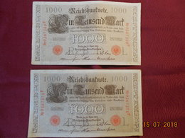 Lot De 2 Billets De 1000 Marks De 1910 - [ 2] 1871-1918 : German Empire