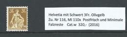Zittende Helvetia 1908 3 Franc Olijf Geel Zu. Nr 116/ Mi. 110x  Cat.w 320,- - Zwitserland