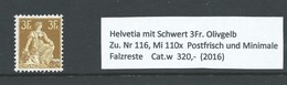 Zittende Helvetia 1908 3 Franc Olijf Geel Zu. Nr 116/ Mi. 110x  Cat.w 320,- - Switzerland