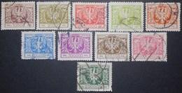Poland 1924 Regular Issue Large Eagle, Complete, Mi# 191-200, CV 220EUR - 1919-1939 República