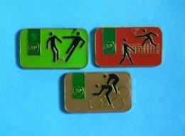 3 PIN'S //  **  SPORT / BP / FOOTBALL / TENNIS / CYCLISME ** . (LTO©) - Carburants