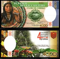 B4-COLOMBIA - 2018- FANTASY CURRENCY. 4000 EMBERAS. SOUVENIR FROM NUMISMATIC MEETING - Colombia