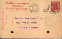 ALLEMAGNE  - Carte Postale Avec Réponse Payée De CÖLN Vers GAND (1910) - Allemagne