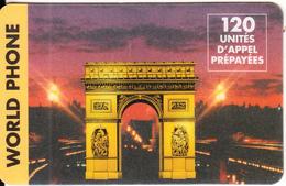 FRANCE - Arch De Triomphe, World Phone Prepaid Card 120 Unites, Used - Landscapes