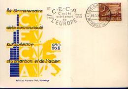 LUXEMBOURG – ESCH-SUR-ALZETTE - Carte Postale « 8e Anniversaire De La Communauté Européenne Du Charbon Et ----> - Entiers Postaux