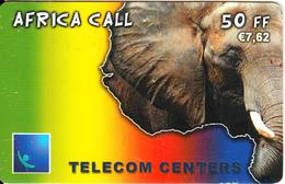 FRANCE - Elephant, Africa Call, Telecom Centers Prepaid Card 50 FF/7.62 Euro, Exp.date 25/12/03, Used - Jungle