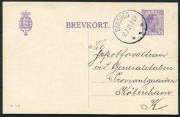 1921 Denmark 15 Ore Stationery Postcard (61 - H) Sandved - Copenhagen - Covers & Documents