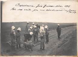 Ancienne Photographie - Casablanca Juin Juillet Août 1908 - Pose Des Rails - Africa