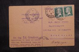 FRANCE - Carte De Correspondance De Duisburg Pour Bruxelles En 1923 , Oblitération Trésor Et Postes 207 - L 34873 - Marcofilie (Brieven)