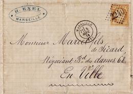 Lettre Marseille 1874 Henri Exel Bouches Du Rhône Timbre Cérès 15 Centimes Cachet Gros Chiffre 2240 - 1871-1875 Cérès