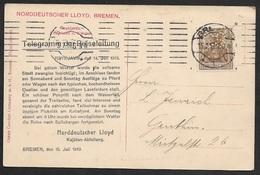 1913 - DR Schiffstelegramm Troms Reykjavik Nordlandreise Auf AK Gedruckt - Firmenlochung Perfin -  Selten - Briefe U. Dokumente