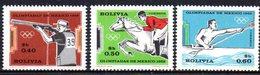 APR1846 - BOLIVIA 1969 ,   Yvert N. 485/487  ***  MNH  (2380A)  Messico 1968 - Bolivia