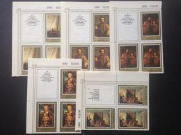 SU Soviet Union Hermitage German Painting 1983 5 Blocks Of 4 ( Left-up) - Blocs & Hojas