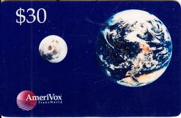 USA - Earth & Moon, Amerivox Prepaid Card $30, Used - Stati Uniti