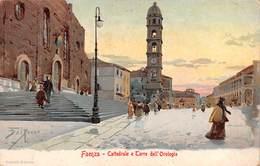 """M08321 """"FAENZA-CATTEDRALE E TORRE DELL'OROLOGIO""""ANIMATA-ILLUSTRAZIONE DI DAL POZZO-CARTOLINA  ORIG. SPED. 1926 - Faenza"""